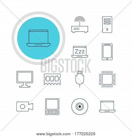 Vector Illustration Of 12 Computer Icons. Editable Pack Of Objective, Router, Movie Cam And Other Elements.