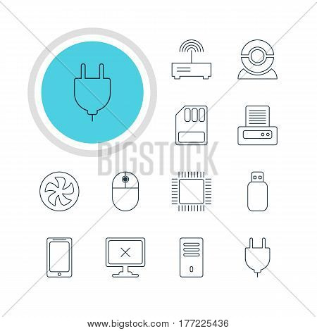 Vector Illustration Of 12 Computer Icons. Editable Pack Of Microprocessor, Cursor Manipulator, Access Denied And Other Elements.