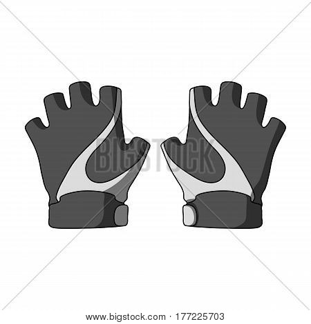 Bike hand gloves for cyclists. Protective equipment for athletes.Cyclist outfit single icon in monochrome style vector symbol stock web illustration.