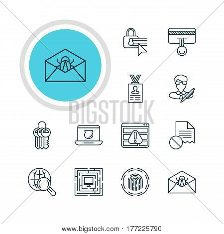 Vector Illustration Of 12 Web Safety Icons. Editable Pack Of Data Security, Key Collection, Account Data And Other Elements.