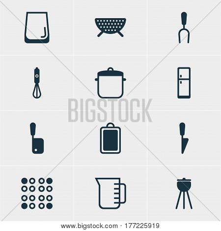 Vector Illustration Of 12 Cooking Icons. Editable Pack Of Barbecue Tool, Carafe, Soup Pan And Other Elements.