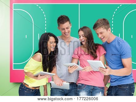 Digital composite of People group Students Tablets Sport Happy Fun Bright background