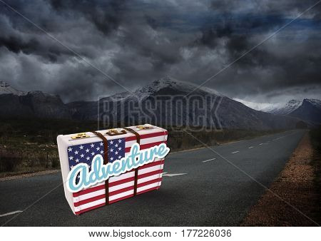 Digital composite of American Flag Luggage against dark moutain background