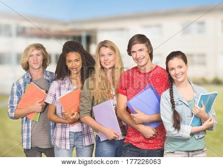 Digital composite of Students Portrait smiling at camera against a school background
