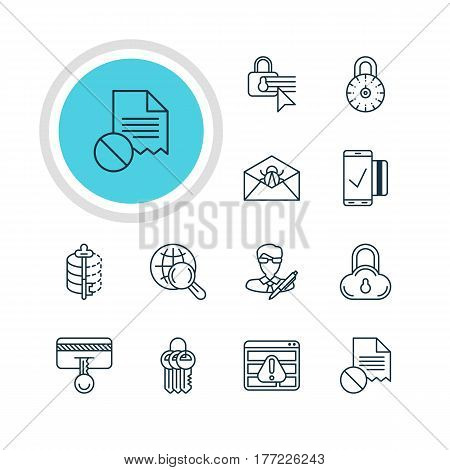Vector Illustration Of 12 Privacy Icons. Editable Pack Of Browser Warning, Safe Storage, Safe Lock And Other Elements.
