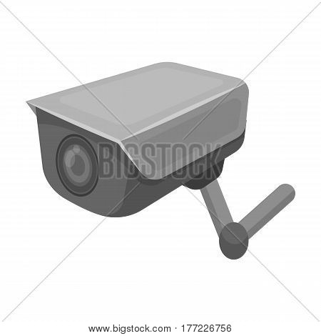 CCTV camera in the prison. The system of monitoring the jailers.Prison single icon in monochrome style vector symbol stock web illustration.