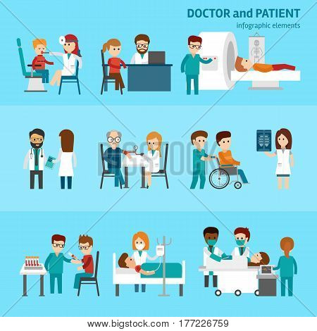 Medical infographic elements with doctor and patients treatments and examination flat pictograms with healthcare symbols abstract isolated vector illustration on blue background Hospital professionals
