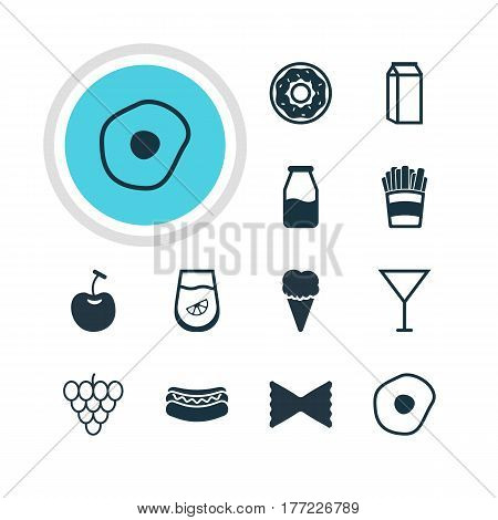 Vector Illustration Of 12 Cooking Icons. Editable Pack Of Milk, Berry Type, Farfalle And Other Elements.