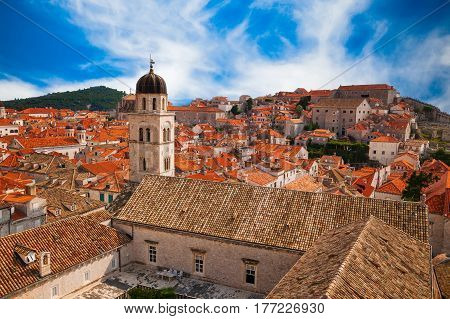 view of Dubrovnik Old town from its City Walls, South Dalmatia, Croatia
