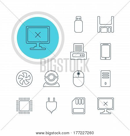 Vector Illustration Of 12 Notebook Icons. Editable Pack Of Smartphone, Web Camera, Mainframe And Other Elements.