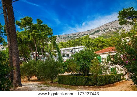 landscape in a small village Brela in Makarska riviera, Croatia