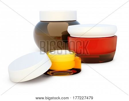 Set of cosmetic cream. Daily beauty care cosmetic. Face cream eye cream serum. White background. 3D illustration