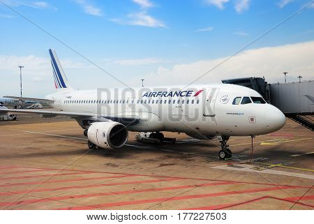 Marseille France - July 20 2014: Air France Airbus A 320 aircraft at the Marseilles airport. Marseille Airport is one of the largest transport hub in Europe