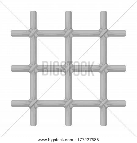 Lattice in the cell of the prisoner. A metal door to hold criminals.Prison single icon in monochrome style vector symbol stock web illustration.