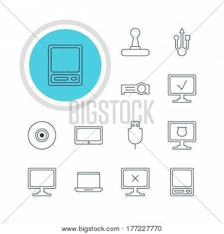 Vector Illustration Of 12 Laptop Icons. Editable Pack Of Antivirus, Notebook, Usb Icon And Other Elements.