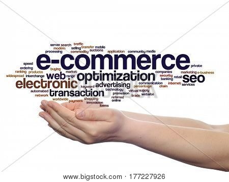 Concept or conceptual E-commerce electronic sales abstract word cloud in hands isolated on background