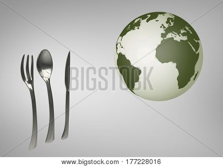 Digital composite of Composite image of globe next kitchen utensils against grey background
