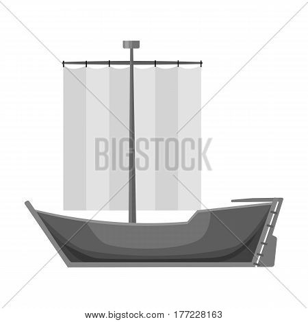 Sailboat. The boat sails from the wind. Water transport for skating.Transport single icon in monochrome style vector symbol stock web illustration.