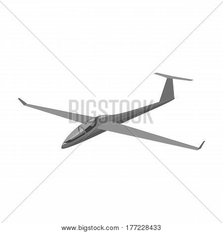 The orange fighter. High speed airplane for one person.Transport single icon in monochrome style vector symbol stock web illustration.