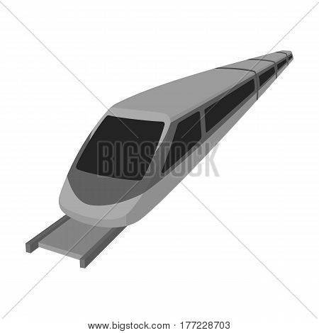 High speed train for transporting people over long distances. railway transport.Transport single icon in monochrome style vector symbol stock web illustration.