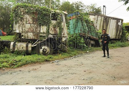 Abandoned Truck Wreck And Train Wagon At Quirigua