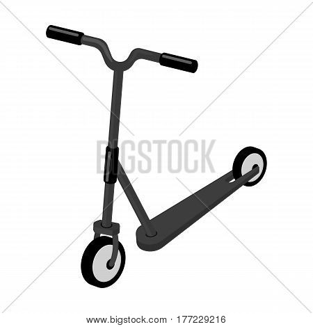 Children red scooter. Transport for children walks.Transport single icon in monochrome style vector symbol stock web illustration.