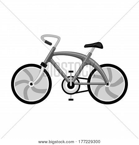 A sports bike for a quick ride down the road. Bicycle ecological economical transport.Transport single icon in monochrome style vector symbol stock web illustration.