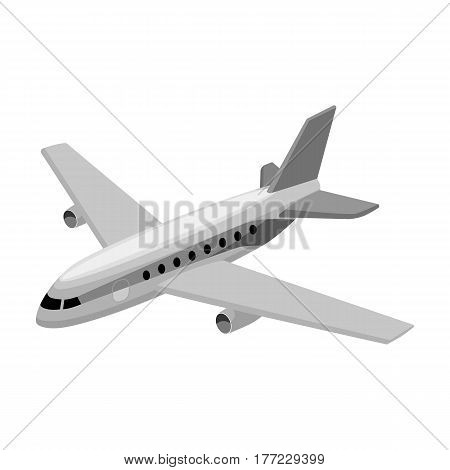 Aircraft for transportation of a large number of people. The safest air transport.Transport single icon in monochrome style vector symbol stock web illustration.