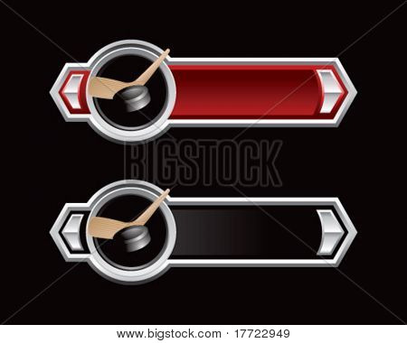 hockey stick and puck red and black arrows