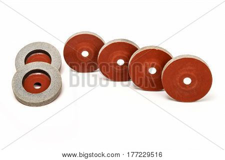 Set of 6 Grinding and polishing wheels on white background