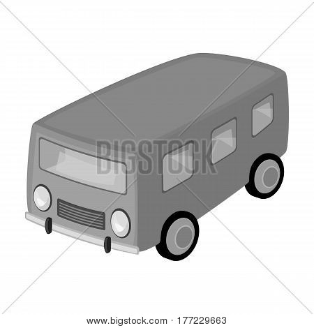 Blue bus for the transportation of a small number of people around the city and the village.Transport single icon in monochrome style vector symbol stock web illustration.