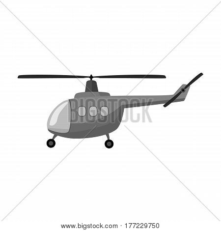 Air transport helicopter. Transport with blades.Transport single icon in monochrome style vector symbol stock web illustration.