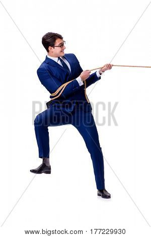Businessman caught with rope lasso isolated on white