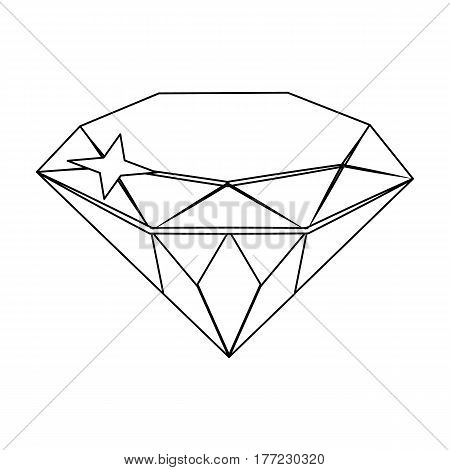 Gem diamond. A valuable prize in the casino.Kasino single icon in outline style vector symbol stock web illustration.