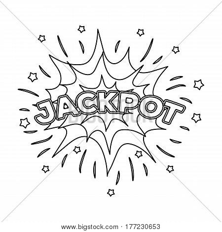 Jackpot, winnings at the casino. The greatest win in the game club.Kasino single icon in outline style vector symbol stock web illustration.