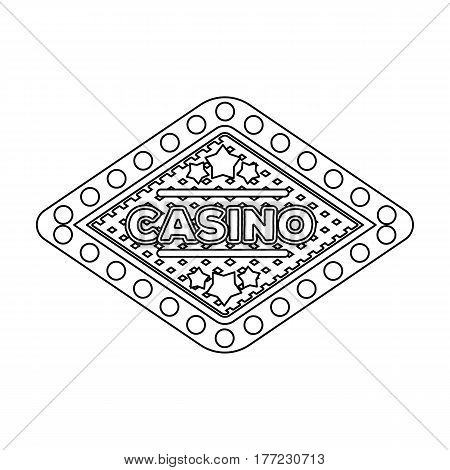 The emblem of the playing club with the inscription of the casino.Kasino single icon in outline style vector symbol stock web illustration.
