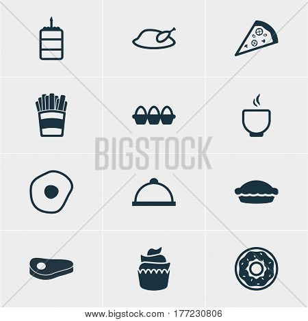 Vector Illustration Of 12 Meal Icons. Editable Pack Of Sirloin, Pastry, Potato And Other Elements.