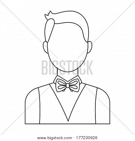 The man in a suit. The croupier, the person who follows the game in the casino.Kasino single icon in outline style vector symbol stock web illustration.