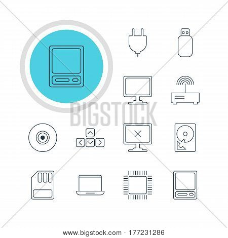 Vector Illustration Of 12 Computer Icons. Editable Pack Of Screen, Keypad, Router And Other Elements.