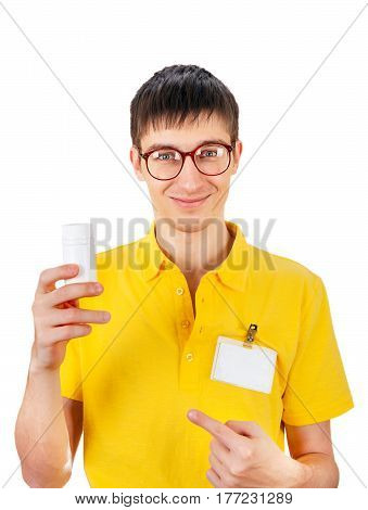 Young Man with White Vial Isolated on the White Background