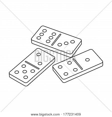 Dominoes for playing in the casino. Gambling for money.Kasino single icon in outline style vector symbol stock web illustration.