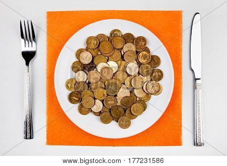 Russian Coins in the Plate on the Table