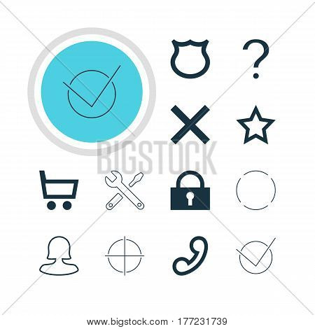 Vector Illustration Of 12 User Icons. Editable Pack Of Help , Conservation, Handset Elements.