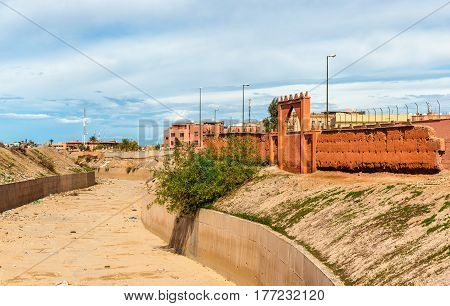 The dry Oued Issil river in Marrakesh - Morocco