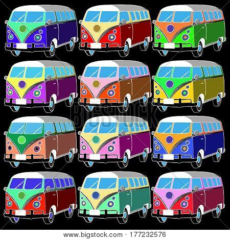 van bus vector freedom retro car adventure