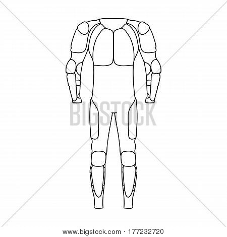 Outfitting for cyclists. Full body protection against falls.Cyclist outfit single icon in outline style vector symbol stock web illustration.