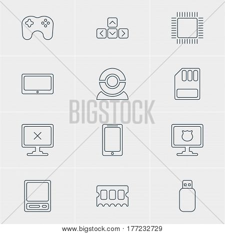 Vector Illustration Of 12 Notebook Icons. Editable Pack Of Flash Drive, Gamepad, Storage And Other Elements.