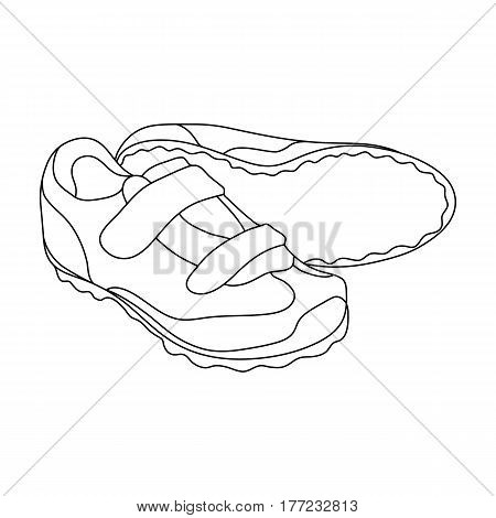 Shoes for cyclists. Special cycling for cycling.Cyclist outfit single icon in outline style vector symbol stock web illustration.
