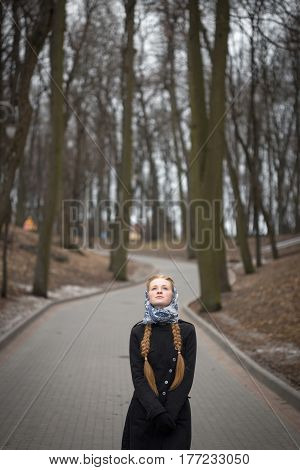 Beautiful Red-haired Girl Lonely Standing On The Road