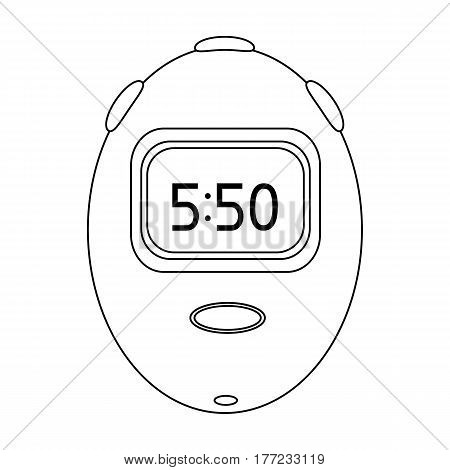 Stopwatch for calculating time and speed of travel.Cyclist outfit single icon in outline style vector symbol stock web illustration.